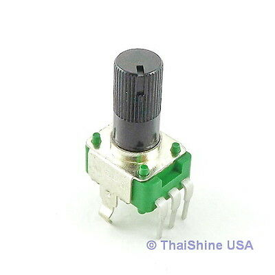 2pcs 100K OHM Linear Taper Potentiometer Round Knurled Plastic Shaft PCB 9mm