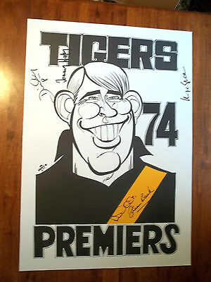 WEG Centenary Poster 1974 Rchmond Tigers Autographed x5 + The Official WEG COA