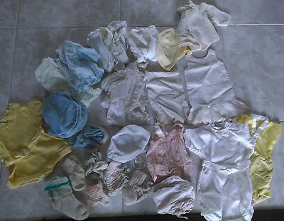 Vintage Assorted Baby Doll Clothes plus Crocheted Booties