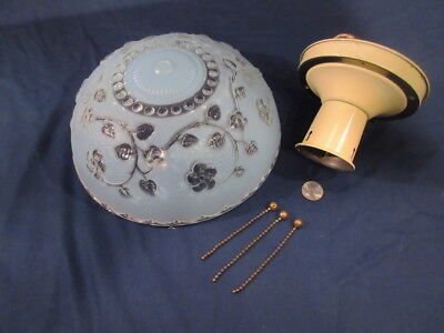Beautiful Vintage 3 Chain Light Fixture w/ Blue Floral Shade Ex. Cond. 1930's