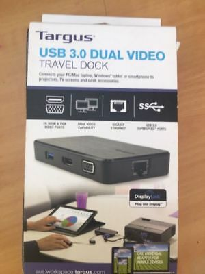 Targus USB 3.0 Dual Video Travel Dock - BRAND NEW Special Price $80 (RRP $149)