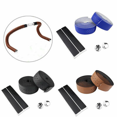 1.9M PU Leather Bicycle Cycling Handlebar Tape Breathable Absorbent Winding Belt