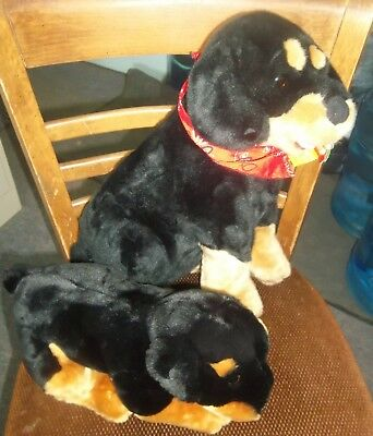 Lot 2 Rottweiler Dogs Puppy Plush 2000 Animal Alley & 2002 Kennel Klub Kellytoy