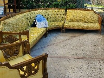 Gorgeous Hollywood Regency Vintage Tufted CURVED Sectional Sofa & 2 chairs