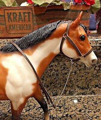 Just in time for Christmas! BREYER Custom Brown Leather Halter & Lead w/ Chain!