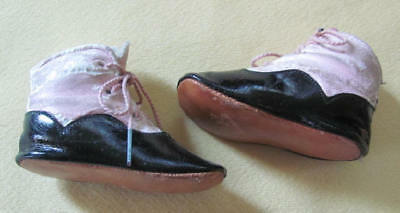 Cute and unusual pink leather and black patent leather antique baby shoes