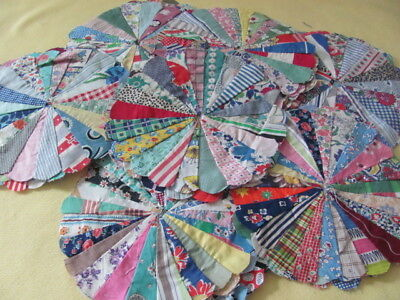 32 vintage Dresden Plate cotton quilt blocks hand stitched some feed sack