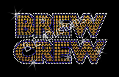 "Rhinestone Transfer /""Wisconsin Badgers Brewers Packers/"" Hotfix Iron On Bling"