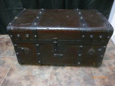 """Antique Small Steamer Trunk 24"""" X 14"""" X 13"""" - As Is"""
