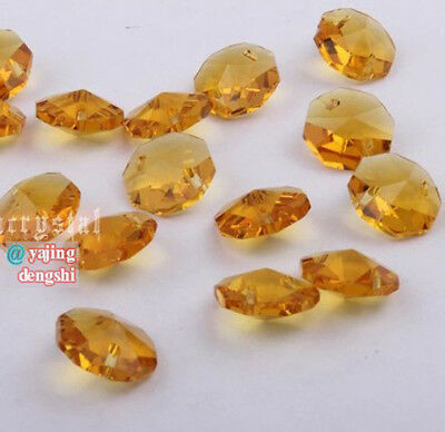 100pcs 14mm gold Crystal Octagonal beads Decoration Crystal chandelier parts #01