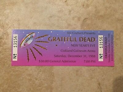 Grateful Dead Full Ticket New Year's Eve 1988 Oakland Bill Graham Presents