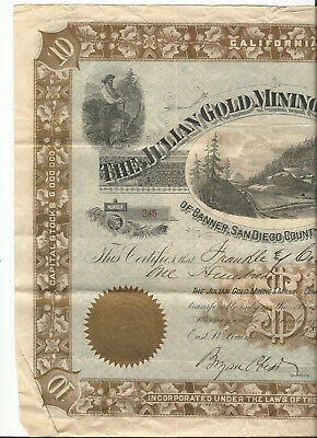 The Julian Gold Mining and Milling Company Stock Certificate #245 larger size