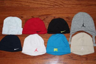 Lot Of 8 Nike Air Jordan Baby Hats Infant Beanie Caps Infant 0-3 0-6 Month Osfa