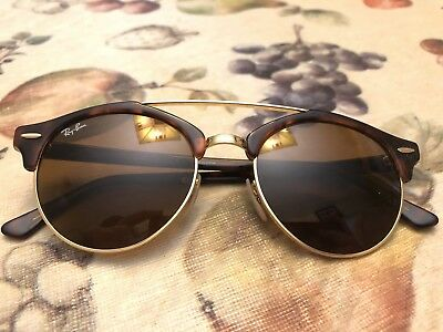 RAY-BAN RB 4346 990 33 Clubround Double Bridge Tortoise  Gold brown ... d23d8324359