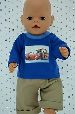 "Play n Wear Doll Clothes To Fit 17"" Baby Born  TAUPE DRILL PANTS~T-SHIRT"