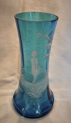 "Victorian Aquamarine Blue Mary Gregory Glass Vase 8"" Tall Girl White Enamel"