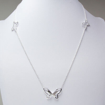 """Solid 925 Sterling Silver Butterfly Jewelry Pendant Necklace Chain 16"""" Gift"""