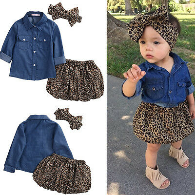 3PCS Baby 0-5Y Girls denim shirt +Leopard Dress+headband Kids Clothes Outfit