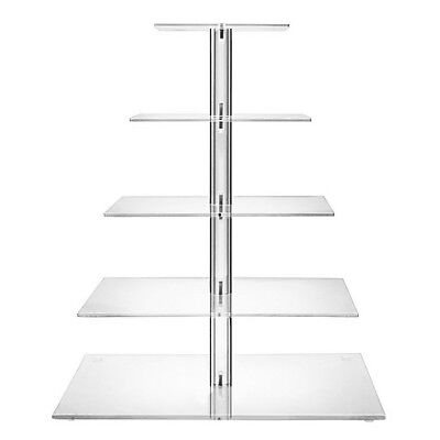 Cupcake Stand 5 TIER Square - Clear Acrylic Display Tower for Wedding & Party