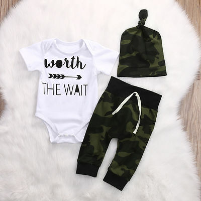 3PCS Toddler Newborn Baby Boy Camouflage Romper Shirt Tops+Pants Outfits Clothes