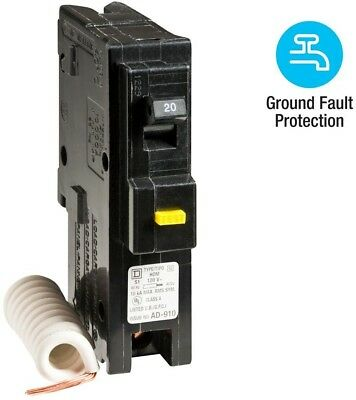 Square D Homeline 20 Amp Single-Pole GFCI Circuit Breaker Overload Protection