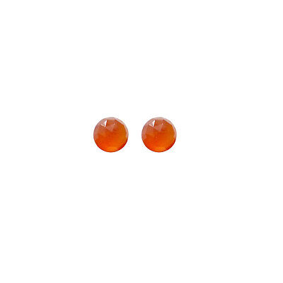 5x5mm 1pair AAA Quality Rose Cut Faceted Cabochon Carnelian Loose Gems
