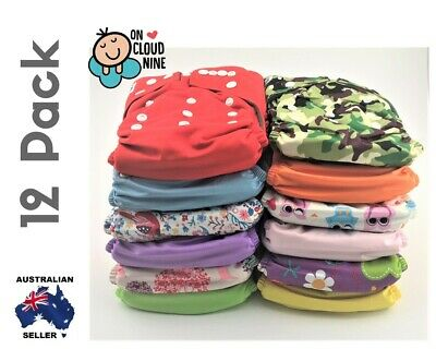 12 Bamboo Cloth Nappies Baby GIRL Reusable Charcoal Nappy Diaper & 5Layer Insert