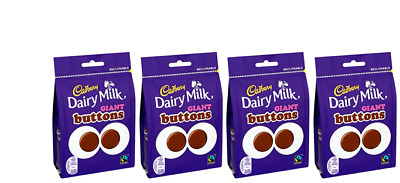 909328 4 x 119g PACKETS OF CADBURY'S DAIRY MILK GIANT BUTTONS RECLOSABLE BAG!