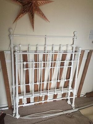 Vintage Victorian large single original cast iron bed antique white