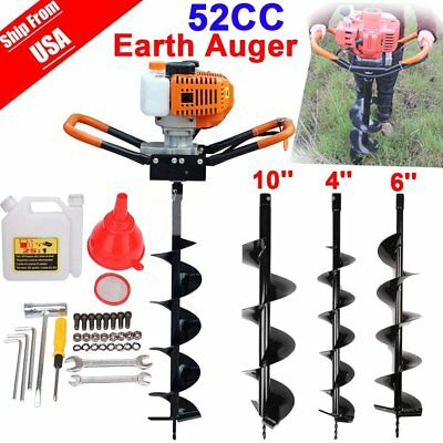 "52cc 2.3HP Powered Gas Post Hole Digger Earth Digger Auger W/ 10"" Bits Drill EK"