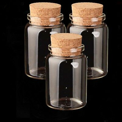 Lot/50 X Lab Storage Jars Seeds Container Φ47mm Wedding Clear Glass Cork Bottles
