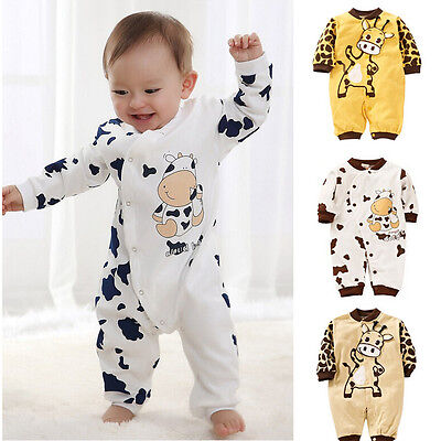 2017 Cute Cow Newborn Girls Boys Clothes Baby Outfit Infant Romper Clothes 0-24M
