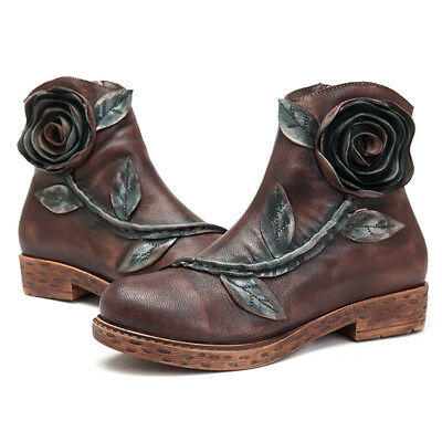 SOCOFY Women Vintage Style Handmade Rose Ankle Leather Boots Comfy Winter Shoes