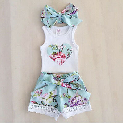 3Pcs Toddler Baby Girl Clothes Tops Flower Vest +Lace Shorts Pants Outfits Set