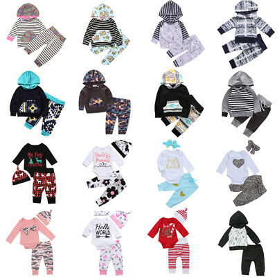 UK 0-24M Newborn Baby Kids Boys Girls Clothes Hooded Tops+Long Pants Outfits Set