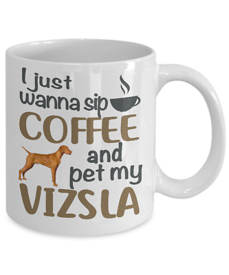 Sip Coffee With My Vizsla White Coffee Mug,vizsla Coffee Mug, Vizsla Cup