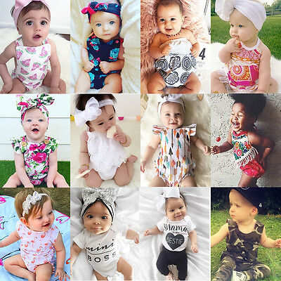 Newborn Baby Boy Girl Floral Romper Bodysuit Jumpsuit Outfit Sunsuit Clothes AU