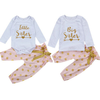 Sweet Toddler Kids Baby Girls Long Sleeve Clothes T-shirt Tops Pants Outfits Set