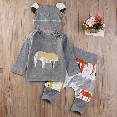 Newborn Baby Boys Toddler Tops T-shirt +Long Harem Pants Outfits Set Clothes NEW