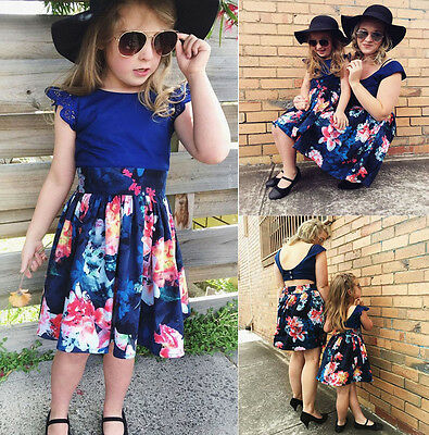 Mother Daughter Women Girls Kids Summer Backless Flower Party Dress Sundress AU