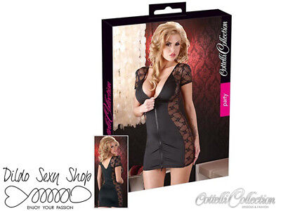 Mini Abito Sexy Sensuale Erotico Cottelli Collection Kleid Zip Black Taglia L