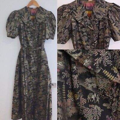 Chinoiserie print dress UK size 10 brocade colour original 1930s -1940s