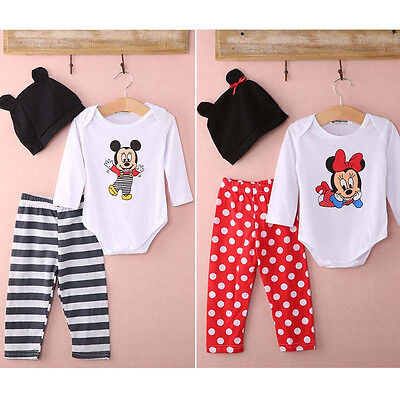 3pcs Newborn Clothes Set Outfits Infant Toddler Baby Boy Girl Hats+Romper+Pants