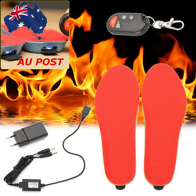 USB Electric Heated Shoe Insoles Foot Warmer Heater Feet Battery Warm Socks Ski