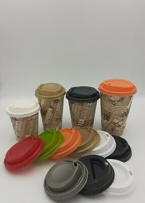 Coffee Party PAPER CUPS PRINTED TABLEWARE 12oz Disposable LIDS Cold Hot Drinks