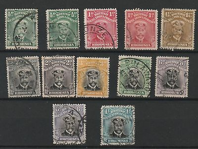 Rhodesia 1913 Admirals selection of 12 used