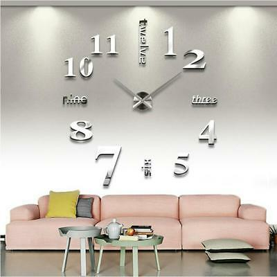 Clock Wall Home Large Decor 3d Modern Diy 12 Mirror Led Antique Office Sticker R