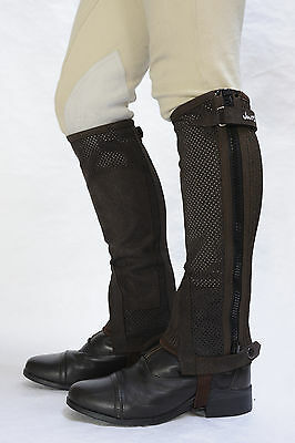 Just Chaps Adult Cool Chaps Riding Half Chaps - Breathable BLK & BRN