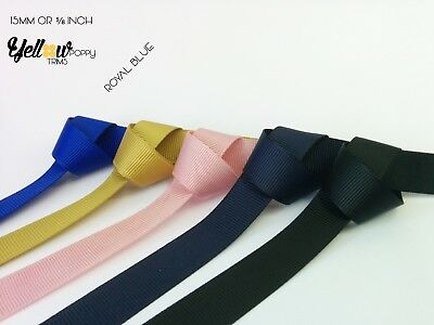 20 Mtrs Quality Grosgrain Ribbon Tape 7mm to 38mm Blue, Navy, Pink, Red, Mustard