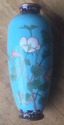 A Fine Antique Japanese Meiji Period Pale Blue Ground Wireless Cloisonne  Vase